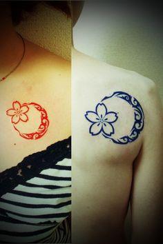 """トライバル 月&サクラ 胸  Traibal Tattoo """"Moon&Sakura""""  タトゥー&ピアッシングみやわき」 大阪府大阪市西区阿波座&三重県伊賀市 06-4395-5280 Awaza Nishi-ku Osaka &Iga Mie Japan  +81-6-4395-5280 http://www.miyawakitattoo.com"""