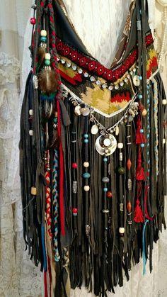 Handmade GRAY Leather Cross Body Bag Beads Fringe Boho HoboTribal Purse tmyers #Handmade #MessengerCrossBody