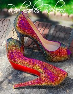 03847f56bf53 Christian Louboutin Very Prive strassed in Volcano Swarovski crystals by Red  Soles Reborn.