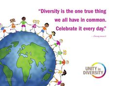 """Diversity is the one true thing we all have in common. Celebrate it every day."" - Unity in Diversity"