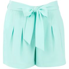 Warehouse Belted Crepe Shorts. ($15) ❤ liked on Polyvore featuring shorts, bottoms, pants, short, mint shorts, mint green shorts, belted shorts, short shorts and bow shorts