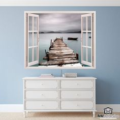 Wall mural Old pier. Window with an image of an old pier on a foggy day. Stair Walls, Stairs, Poster Xxl, Window Wall, Wall Mural, Decoration, Your Space, Wall Stickers, Design Ideas