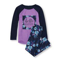 Girls Long Raglan Sleeve 'Hello Beautiful' Top And Floral Print Pants PJ Set