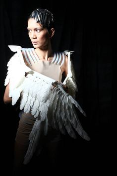 "3D printed wing cape ""Open Wings"" by Melinda Looi - part of a 3D printed fashion show in Malaysia by Materialise"