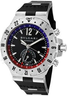 Bulgari Men s Diagono Professional Aria Mechanical Automatic GMT Black Dial  Black Rubber watch. List price   5,500.00 cac42432cbc