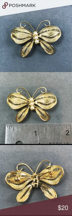 Vtg Napier Filigree Gold Pearl Butterfly Brooch Vintage Gold Filigree Butterfly pin brooch Signed Napier Pearl accents Gorgeous pin Measures 1 1/2 inches From a pet and smoke free location  Box2 Vintage Jewelry Brooches