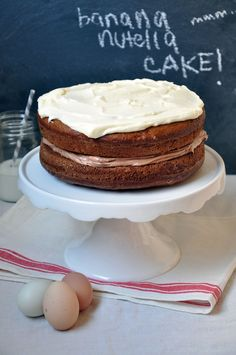 Banana Cake with Nutella and Cream Cheese Frosting | Turntable Kitchen