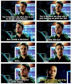 Oliver admitting that he doesn't want Felicity to be with Ray Palmer + relationship counselor John Diggle Arrow 3.07