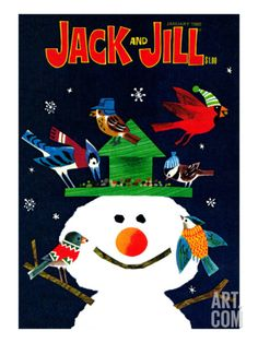 Snowman and Friends - Jack and Jill, January 1980 Giclee Print by Allan Eitzen at Art.com