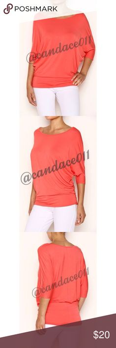 3/4 Sleeve Dolman Top (Coral) 🔹Rayon Modal: 95% Rayon, 5% Spandex 🇺🇸Made in the USA🇺🇸 🔹Size Recommendations: S (2-4) M (6-8) L (10-12) XL (14-16) 2X (18-20) 3X (22-24) CC Boutique  Tops Tees - Short Sleeve