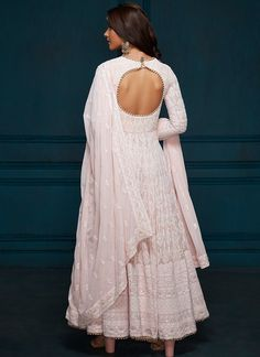 Light Pink Thread Embroidered Anarkali – Lashkaraa