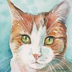 Ginger and White Cat Orange marmalade cat Painting 8x10 print by Christy Obalek
