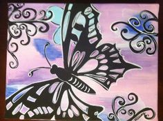 Butterfly painting. Butterfly Acrylic Painting, Fb Covers, My Canvas, Canvas Paintings, Paint Party, Dragonflies, Paint Ideas, Diy Painting, Cover Photos