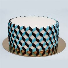 jagoda architecture: modern fondant cakes and cookies Pretty Cakes, Cute Cakes, Beautiful Cakes, Amazing Cakes, Fondant Cakes, Cupcake Cakes, Geometric Cake, Patterned Cake, Modern Cakes