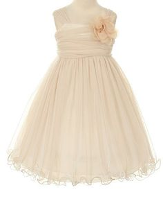Special Occasion Flower Girl Double Layer Mesh Dress - Champagne and Ivory - 6