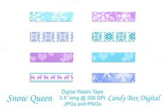 Check out Snow Queen Digital Washi Tape by Candy Box Digital on Creative Market. Beautiful digital washi tape in teal and purple for scrapbooks and journals, photobooks. The snowflake and nordic designs are great for Frozen themed pictures!