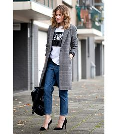 @Who What Wear - Step 1:                 Smarten up a mom-jeans-and-t-shirt combination by throwing on a Savile Row-style menswear coat, as seen here on Christine Reehorst of Fash n Chips. It will help stave off the London fog.