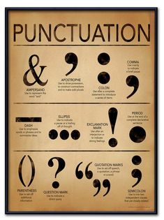 Punctuation Grammar and Writing Poster For Home, Office or Classroom. Fine Art Paper, Laminated, or Framed Punctuation Grammar and Writing Poster For Home, Office or Classroom.Art Print: Punctuation - Gramm ar and Writing Poster by Jeanne Stevenson : Grammar Posters, Writing Posters, Book Writing Tips, Writing Words, Writing Help, Grammar Rules, Punctuation Posters, Punctuation Activities, Grammar Help