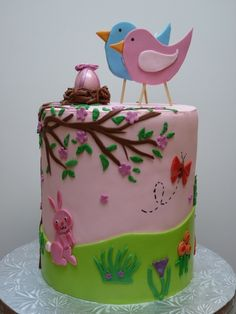 Bird baby shower~ Side design based on the invitation. Double barrel cake, with pink ombre layers in both top and bottom tier. Many thanks to AZCouture for some last minute advice! Pretty Cakes, Cute Cakes, Beautiful Cakes, Amazing Cakes, Torta Baby Shower, Shower Baby, Girl Shower, Macaroons, Double Barrel Cake