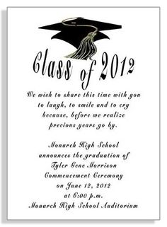 Sample Graduation Announcements Wording Invitations And Can Be Printed Using The Cur Year Or