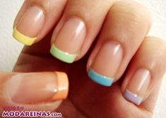 Pastel Tips on nude nails The beauty industry has gone crazy for nail art! Don't worry if you're not blessed in the artistic department; you'll love these 50 easy nail art designs! Colored French Nails, French Nail Art, French Tip Nails, French Tips, French Polish, White Polish, French Tip Nail Designs, Diy Nail Designs, Simple Nail Art Designs