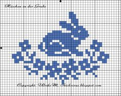 Häschen in der Grube, free chart by Ulrike M. Bunny in flowers cross stitch