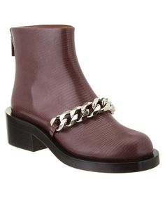 GIVENCHY GIVENCHY CHAIN DETAIL EMBOSSED LEATHER BOOT'. #givenchy #shoes #boots & booties