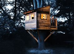 How to Build a Backyard Treehouse  Out on a limb with a mouth full of nails, one dad suspends a shack 7 feet above his backyard. Here's how you can make a world-class backyard tree house.