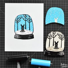 Andrea Lauren (@inkprintrepeat) | Rainy day carving and printing this little bunny snow globe two color blockprint | Intagme - The Best Instagram Widget