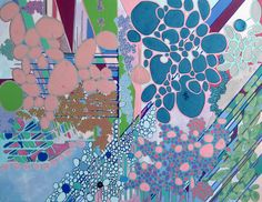 """Cosmos,"" blue and pink painting by artist Rebecca Jacoby - acrylic, oil, textile and paint on canvas"
