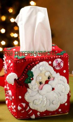Bucilla ~ Christmas Tissue Box Covers ~ 2 Piece Felt Christmas Home Decor Kit First Released in 2013 ~ Discontinued in 2015 This is a discontinued pattern so please make sure you dont miss the chance to purchase one while there are still a few n Christmas Gift Box, Christmas Home, Christmas Stockings, Tissue Box Covers, Tissue Boxes, Tissue Holders, Felt Decorations, Christmas Decorations, Felt Ornaments