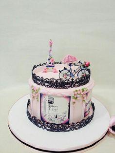 The Most Creative Cake Design Ideas Pretty Cakes, Cute Cakes, Beautiful Cakes, Amazing Cakes, Paris Themed Cakes, Paris Cakes, Fondant Cakes, Cupcake Cakes, Bolo Paris