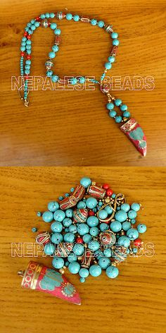 Other Jewelry Making Kits 162102: Diya08 Nepalese Tibetan Turquoise Coral Brass Do It Yourself Necklace Diy Kit -> BUY IT NOW ONLY: $39.99 on eBay!