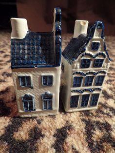 Vintage KLM Holland Blue Delft House Empty Decanter 17  10 Rynbende Distilleries