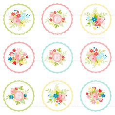 Set of floral stickers for various occasions royalty-free stock vector art