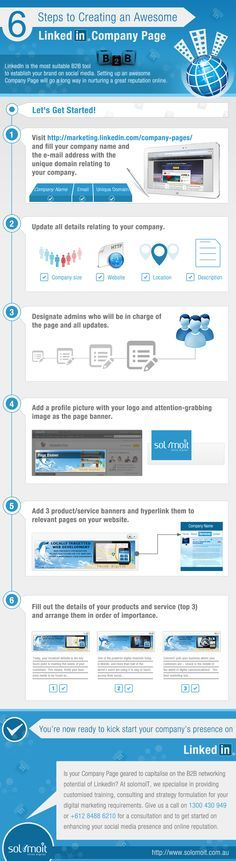 6 steps to creating an awesome #LinkedIn company page. Is your company geared to capitalise on the #B2B networking potential of LinkedIn? Give us call for consultation, training or to provide an integrated digital marketing strategy for your business on 1300 430 949. http://solomoitacademy.com?utm_content=bufferfbd14&utm_medium=social&utm_source=pinterest.com&utm_campaign=buffer…