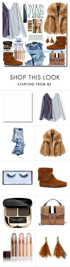 """""""Bez naslova #1130"""" by wuteringheights on Polyvore featuring R13, Minnetonka, Dolce&Gabbana, Kevyn Aucoin and Lizzie Fortunato"""