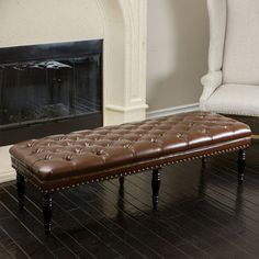Cayden Tufted Leather Bench