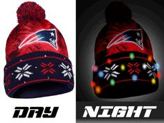 New England Patriots NFL Big Logo Light Up Printed Beanie - Sports Fan Island