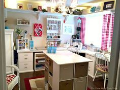 Our Home Away From Home: REVISITING THE CRAFT ROOM Chandelier, curtains,  high shelves
