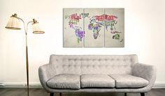 Карта Мира на холсте - оригинально #картамира #картинакарта #картинанахолсте #дизайнстен #дизайнинтерьера #настенныйдекор