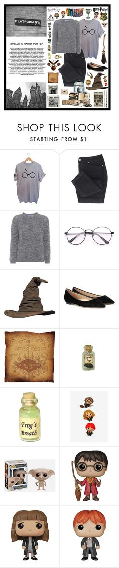 """""""harry potter"""" by tiny-girl-big-heart ❤ liked on Polyvore featuring Prada, Jimmy Choo, Dollhouse, Warner Bros. and Funko"""