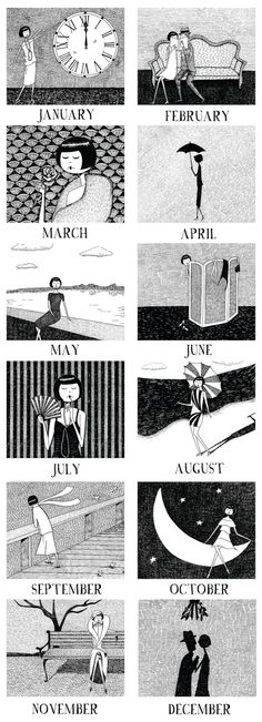 2013 Wall Calendar // 1920s style flapper doodle by flapperdoodle, $5.00.....wicked cool