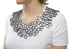 Islay Taylor: Honey Comb, Necklace, bicycle inner tubes, Swarovski crystals, monofilament, 2007.