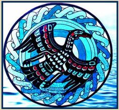 Cormorant stained glass suncatcher Northwest Coast Native American Indian Art