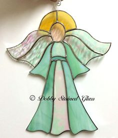Stained Glass Suncatcher Angel  Pale Green by DobbyStainedGlass