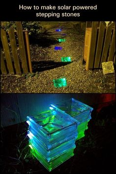 Make Your Own Solar-Powered Stepping Stones  Make your garden accessible by night with these DIY solar powered stepping stones. It's not only magical but perfect for any night strolling for your family.