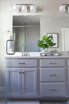 Lakeside Loft - Alice Lane Home Interior Design Bathroom Vanity Sizes, Grey Bathroom Paint, Grey Bathroom Cabinets, Bathroom Mirror Design, Painting Bathroom Cabinets, Diy Bathroom Vanity, Grey Bathroom Furniture, Bathroom Tile Designs, Small Bathroom