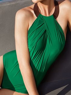 lanvin green halter one piece swimsuit