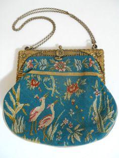 Vintage Aesthetic Needlepoint Ladies Handbag